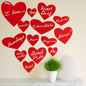 Personalised Love Heart Wall Stickers - new lines added