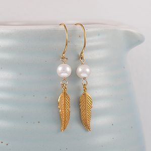 Freedom Feather Pearl Gold Earrings
