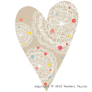 Manilla Dotty Bohemian Heart Decoration - table decorations