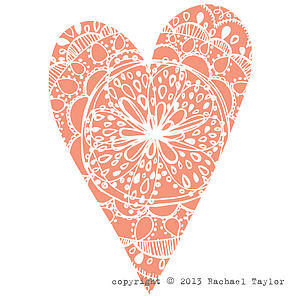 Orange Bohemian Heart Decoration
