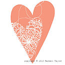 Orange Stitch Bohemian Heart Decoration