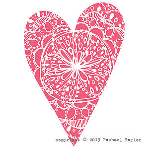 Pink Bohemian Heart Decoration