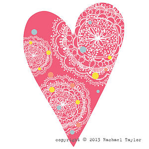 Pink Dotty Bohemian Heart Decoration - room decorations