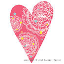 Pink Dotty Bohemian Heart Decoration