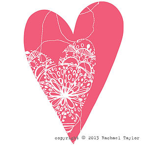Pink Stitch Bohemian Heart Decoration