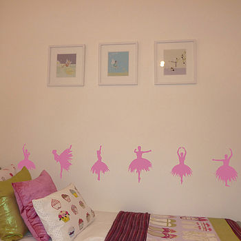 Set Of Six Ballerina Wall Stickers