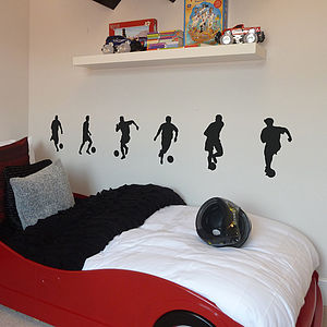 Set Of Six Footballer Wall Stickers - bedroom