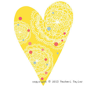 Yellow Dotty Bohemian Heart Decoration - room decorations