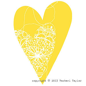 Yellow Stitch Bohemian Heart Decoration
