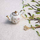 Gold Lattice Teapot Necklace