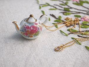 Flower Garden Teapot Necklace - women's jewellery