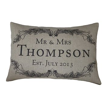 Vintage Style Mr & Mrs Rectangular Cushion