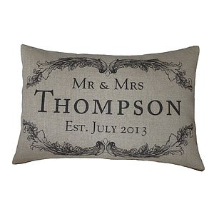 Vintage Style Mr & Mrs Rectangular Cushion - personalised cushions