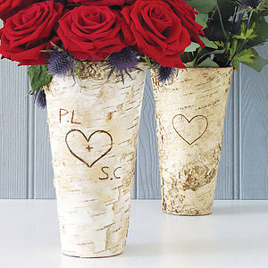 Personalised Rustic Birch Wood Vase - gifts for her