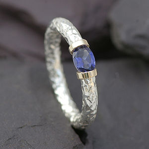 Tension Ring With Sapphire In Sterling Silver - rings
