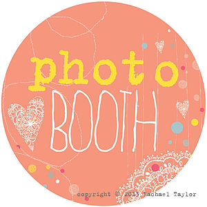 Photo Booth Orange Circle Sign - room decorations