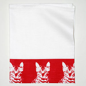 Red Oscar Cat Linen Tea Towel
