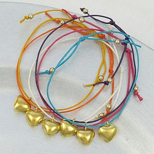 Gold Heart Charm Friendship Bracelet - children's jewellery