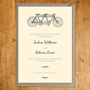 Tandem Wedding Stationery - invitations