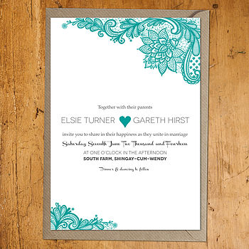 Paisley Lace Teal Invitation