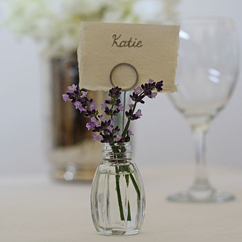 Set Of Four Bud Vase Name Card Holders