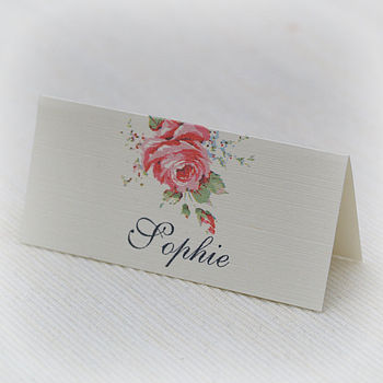 English Rose Design Place Cards
