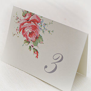 English Rose Folded Table Numbers