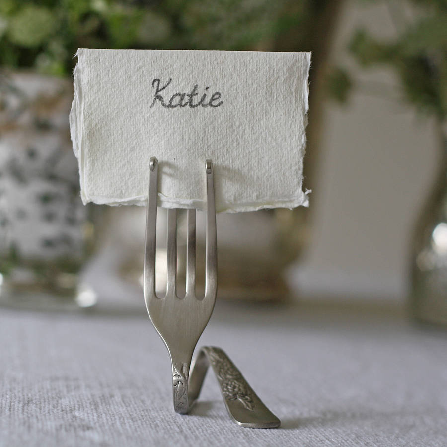 set of four fork place card holders by the wedding of my. Black Bedroom Furniture Sets. Home Design Ideas