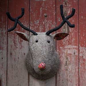 Grey Felt Reindeer Head With Liberty Print - decorative accessories