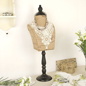 Vintage Hessian & Lace Collar Mannequin - home accessories
