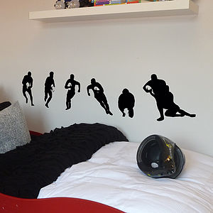 Set Of Six Rugby Player Wall Stickers