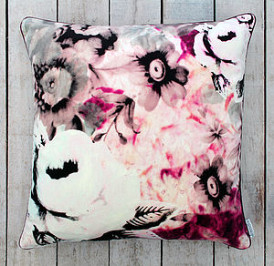 Flora Printed Velvet Cushion - fresh floral homeware