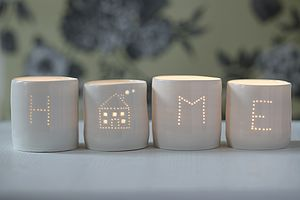 Set Of Home Porcelain Tea Lights - decorative accessories