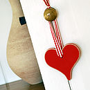 Handmade Wooden Hearts In Red, White & Silver
