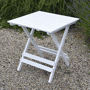 Adirondack Folding Hardwood Table In White