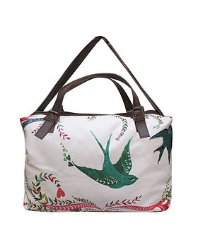 Birdy Pattern Overnight Bag