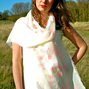 100% Wool Fluoro Pink Wool Scarf - hats, scarves & gloves