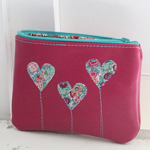 Personalised Large Leather Heart Clutch Purse - purses & wallets