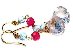 Rose Quartz, London Blue Topaz Gold Earrings - women's jewellery