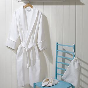 Trieste White Fine Waffle Bath Robe - men's fashion