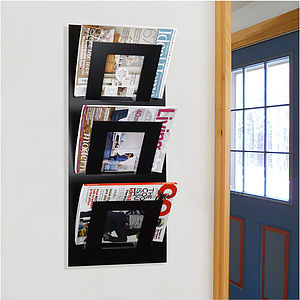 Wall Mounted Three Tier Magazine Rack - living room