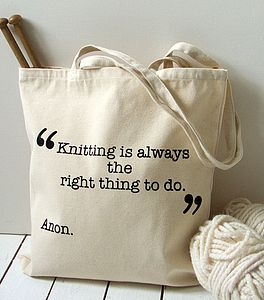 'According To Anon' Knitting Tote Bag