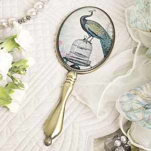 Peacock Design Hand Mirror - gifts for her