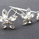 Set Of Three Flower Crystal Hair Pins *Offer