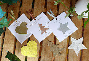 Plantable Christmas Tree, Snowflake And Heart Set