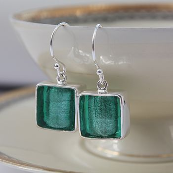 Murano Glass Square Drop Silver Earrings - Sea Green