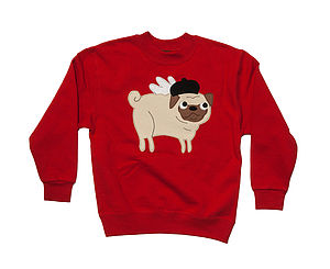 Girl's French Pug Sweatshirt - children's jumpers