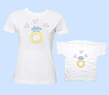 Mother And Daugher Diamond Ring T Shirt Set