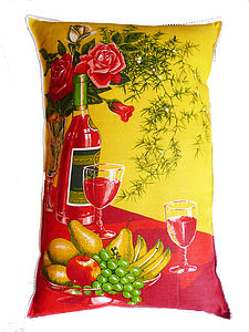 Vintage Food And Wine Linen Cushion