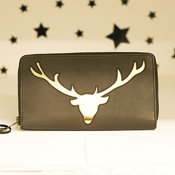 Italian Leather Stag Head Cutout Purse
